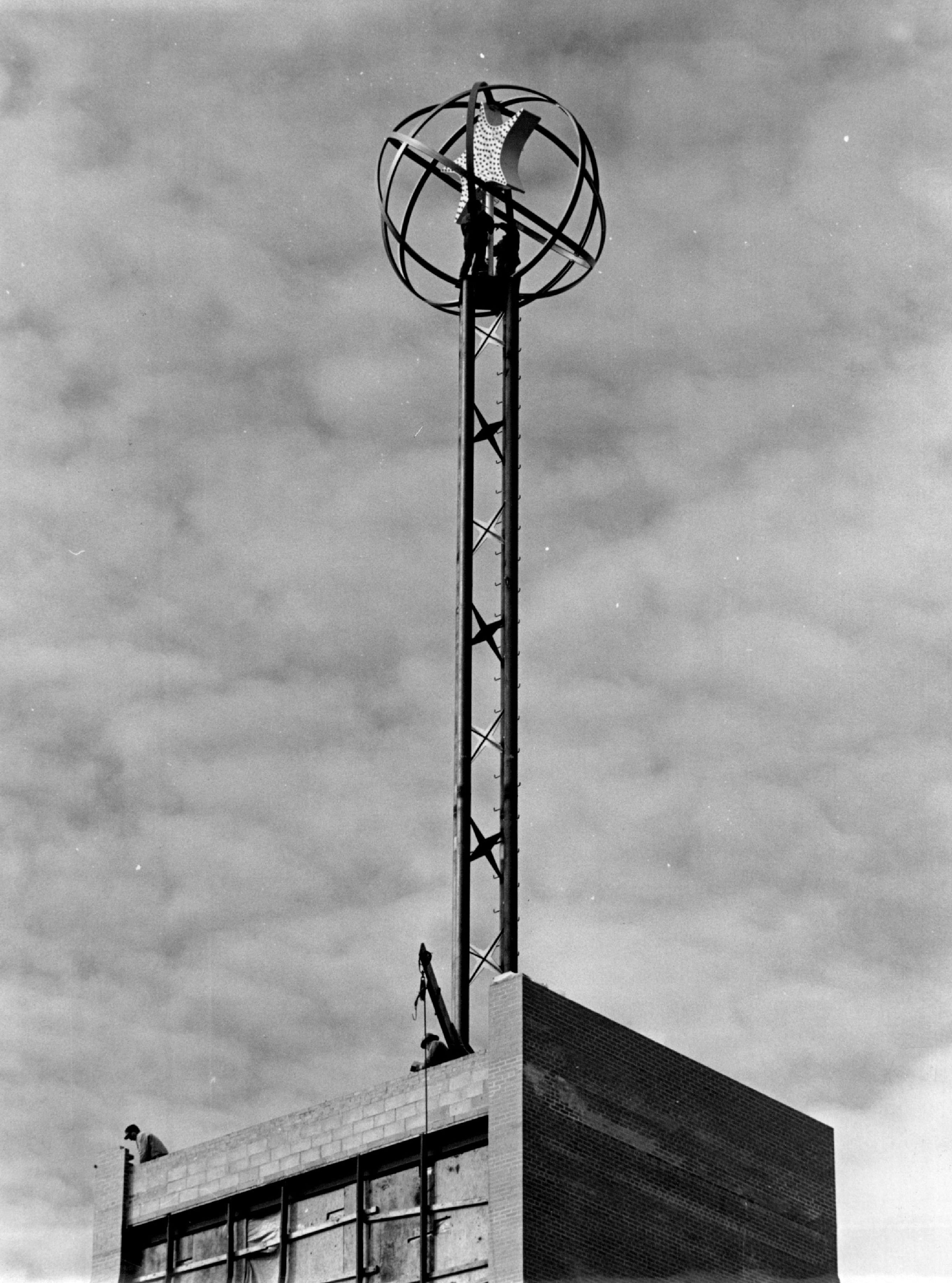 The Star of the North globe, 15 feet in diameter, sat atop a tower 70 feet above the roof of Northstar Center in 1962.