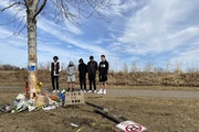 Friends of the victim involved in a fatal crash in Woodbury on gathered in March at the scene of the crash.