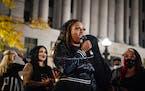"Diamond Reynolds, former fiancé of Philando Castile, spoke during ""The Secret March"" in St. Paul."