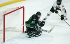 Gentry Academy forward Barrett Hall scored on East Grand Forks goaltender Cole Quirk late in the first period.