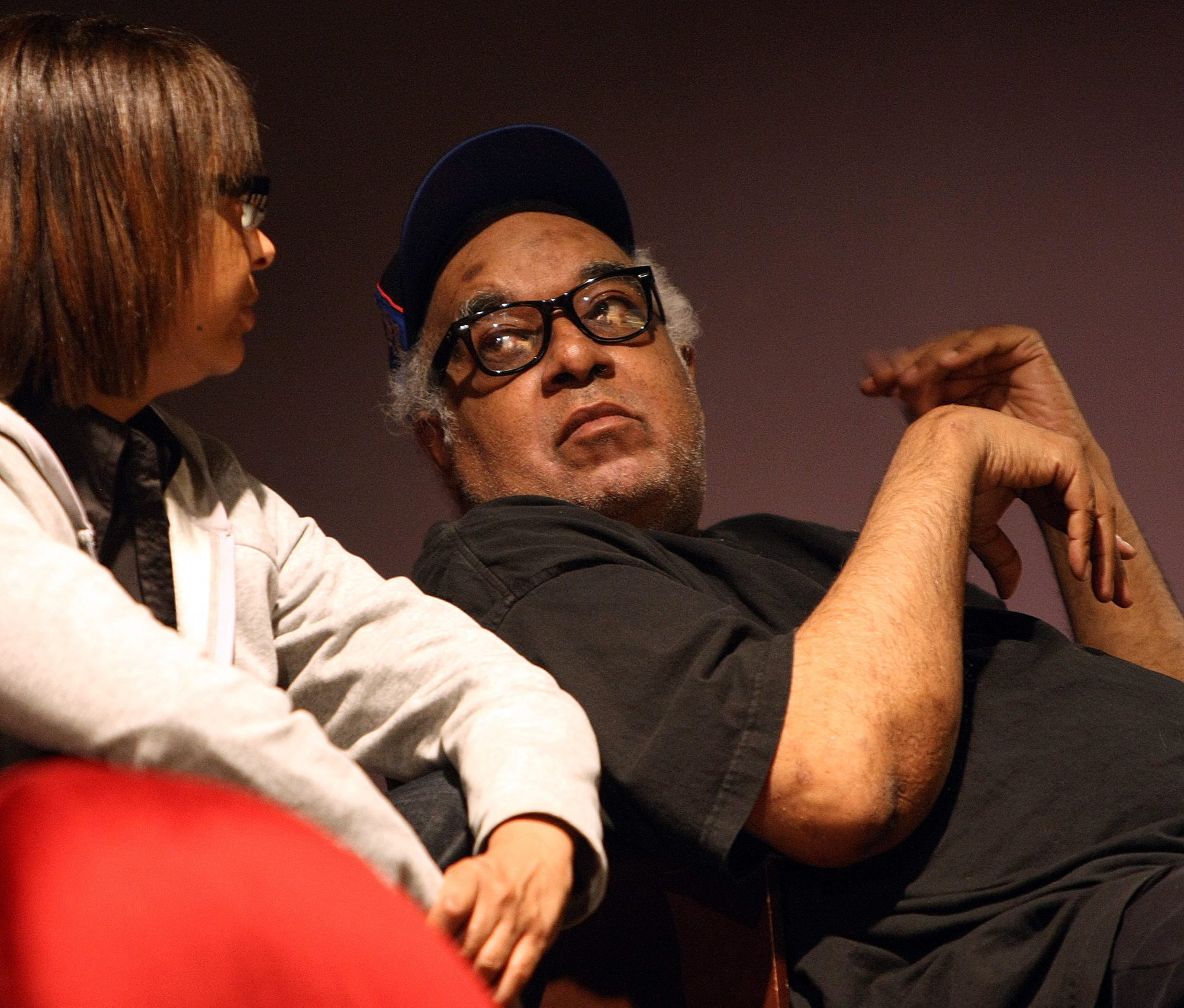 Price and director Marion McClinton conferred during rehearsal for 'Bulrusher' in 2008.