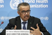 Dr. Tedros Adhanom Ghebreyesus, director-general of the World Health Organization (WHO), addresses a news conference on COVID-19 in February 2020.