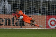 Minnesota United goalkeeper Tyler Miller makes the game-winning save on a penalty kick against the Columbus Crew last July