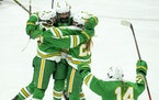 Edina celebrated after forward Berit Lindborg (20) scored the first goal of the game in the first period. ]