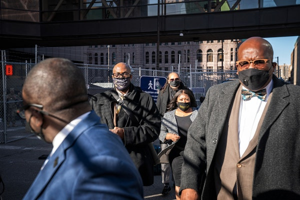 Family and supporters of George Floyd, including brother Philonise Floyd, left, outside the Hennepin County Courthouse on Thursday, at the end of the