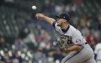 Jose Berrios pitches during the first inning of a game against the Brewers on Saturday