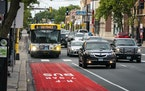 A Metro Transit bus drove north on Hennepin Avenue in a dedicated bus lane toward the Uptown Transit Station in 2019. Minneapolis officials are explor