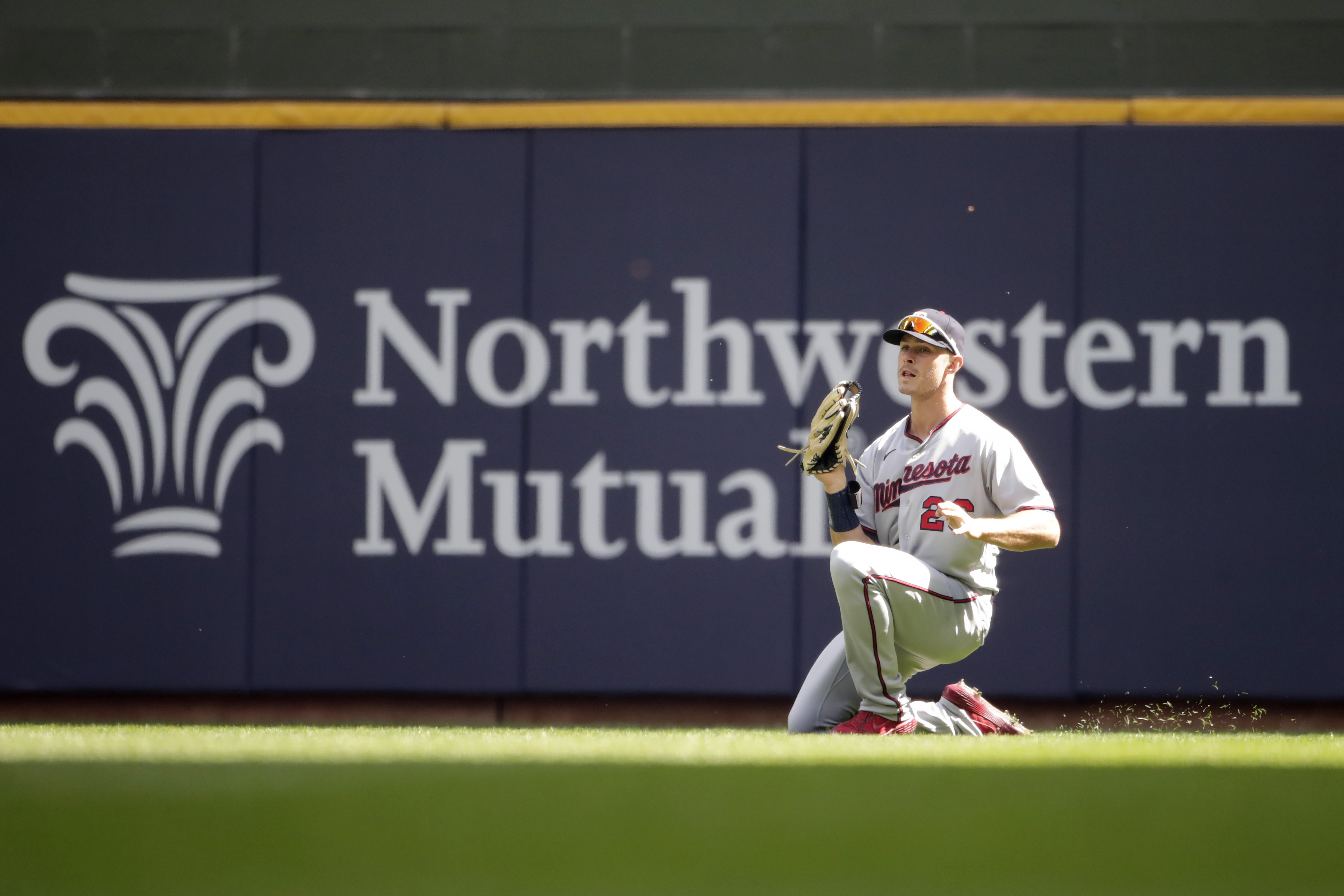 Twins outfielder Max Kepler went to a knee to make a catch during the third inning against the Brewers on Sunday.