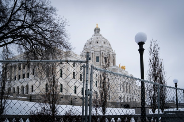 The Minnesota State Capitol fencing is seen on Jan. 4, 2021. Public Safety Commissioner John Harrington said Monday, April 5, that a new fence was ins