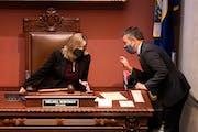 DFL House Majority Leader Ryan Winkler spoke to House Speaker Melissa Hortman before the start of last October's special session. GLEN STUBBE • ST