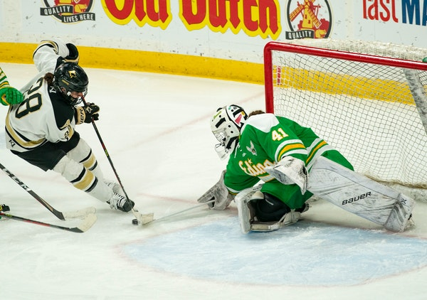 Edina goalkeeper Uma Corniea stopped Andover forward Tyra Turner in the second period of the Class 2A championship game Saturday.
