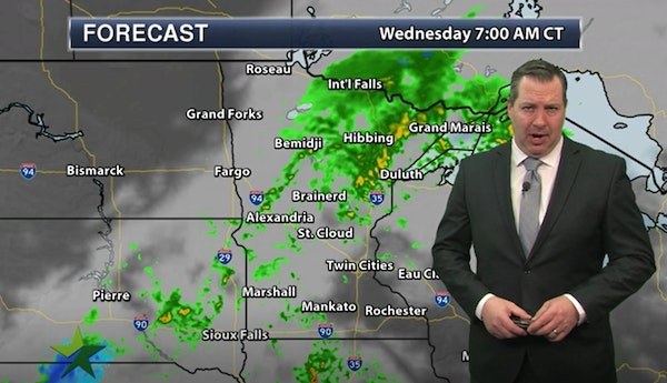 Evening forecast: Low of 56; breezy with storms possible ahead of more rain Wednesday