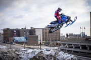 Levi LaVallee was filming for Red Bull Portside in Duluth in February.