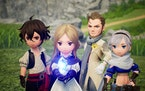 """Characters team up to gather stolen elemental crystals in """"Bravely Default II."""""""
