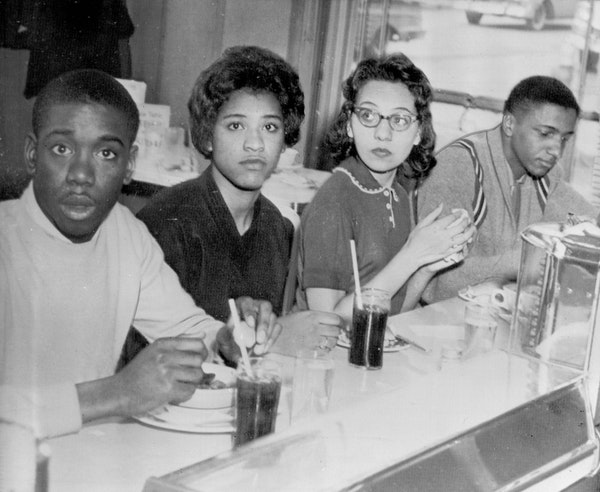 March 18, 1960: Students at a Nashville lunch counter.