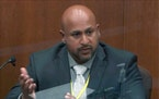 In this image from video, BCA Special Agent James Reyerson testified Wednesday, April 7, 2021, in the trial of former Minneapolis police officer Derek