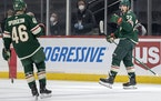 Kevin Fiala (22) of the Wild celebrated a goal in the first period.