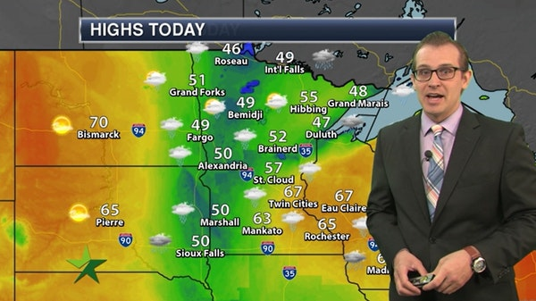 Morning forecast: Rain on and off today; high of 61
