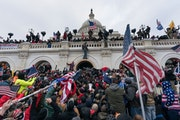 Pro-Trump supporters pushed back against police at the U.S. Capitol in Washington, D.C., on Jan. 6.