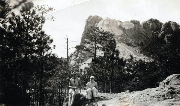 Erna Zahn, right, visiting Mount Rushmore with a friend in July 1934. George Washington's head was the only completed portion of the monument.