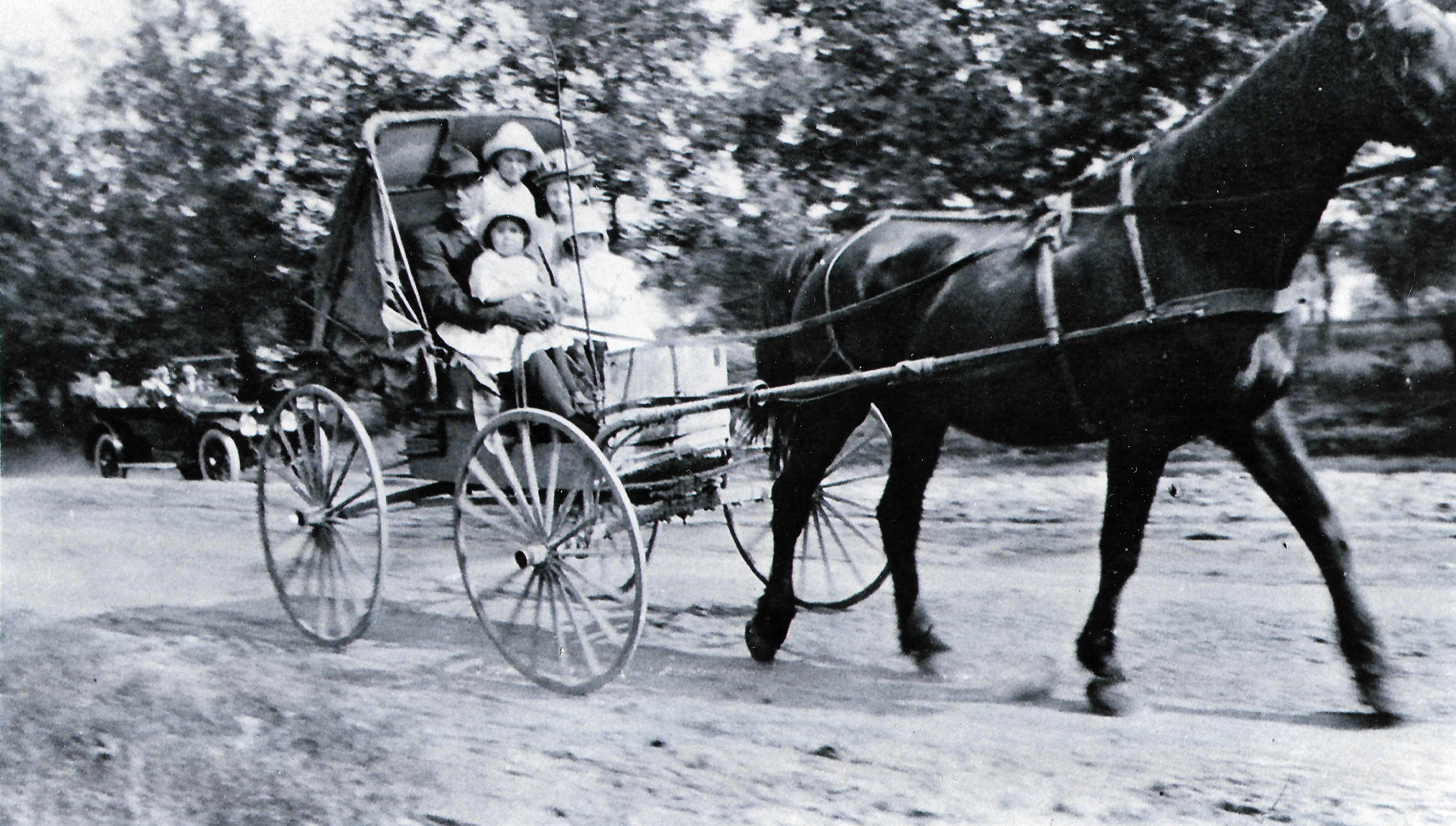 Erna Zahn as a child in 1915, riding in a horse and buggy near Pickett, Wisconsin with her siblings and parents. They were traveling to a family member's house on a Sunday afternoon.