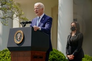President Joe Biden speaks about gun regulations from the Rose Garden at the White House in Washington on Thursday, April 8, 2021, as Vice President K