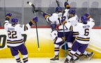 Minnesota State Mankato players celebrated after a goal at this year's Frozen Four, in one of the team's final moments as a WCHA team.