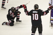 St. Cloud State forward Nolan Walker celebrated after scoring the game-winning goal with under a minute to play in regulation.