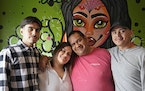 Chef and restaurateur Hector Ruiz with his children, from left, Benjamin, Ena and Shawmen, at his new El Travieso Taqueria in Minnetonka.