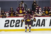 UMD players reacted to losing to University of Massachusetts 3-2 in overtime on Thursday night at PPG Paints Arena.