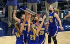 The Vikings celebrate winning the Class 1A title. Minneota held on to defeat Belgrade-Brooten-Elrosa 48-45 at Target Center on Friday afternoon. Photo
