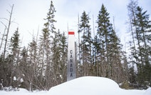 A border marker on the Northwest Angle on Feb. 9, 2021. The northernmost part of Minnesota is only accessible by land through Canada, which closed its