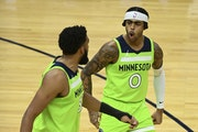 Timberwolves center Karl-Anthony Towns and guard D'Angelo Russell
