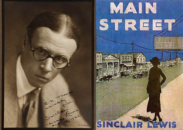 "Left, Sinclair Lewis inscribed his photo ""amiably"" to Chicago Sun literary critic C. N. Thomas, and it's dated ""Chicago, Oct. 10, 1922."" Rig"