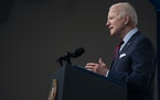 President Joe Biden speaks during an event on the American Jobs Plan in the South Court Auditorium on the White House campus in Washington on April 7.
