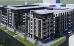 An illustration of proposed apartments along Lexington Parkway near the Green Line in St. Paul.