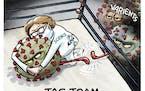 Sack cartoon: Tag team