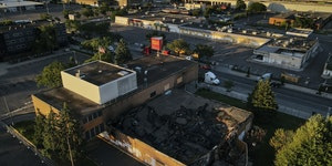 The arson-destroyed Wells Fargo at Lake Street and Nicollet Avenue was demolished in March and will be redeveloped.