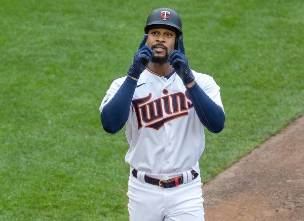 Twins Byron Buxton celebrated after hitting a homer in the fifth inning.