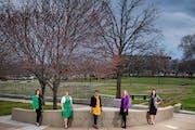 From left, Sen. Julia Coleman, Rep. Marion O'Neill, Rep. Hodan Hassan, Rep. Kelly Moller, Sen. Lindsey Port at the suffrage memorial.