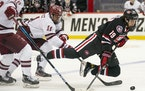 St. Cloud State Huskies forward Sam Hentges (19) tried to maintain while falling over the stick of Massachusetts Minutemen forward Carson Gicewicz (11