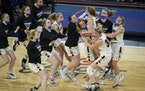Chaska celebrated its 45-43 win against Rosemount for the 4A championship on Friday night.