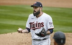 Twins righthander Matt Shoemaker reacted to getting ejected in the sixth inning Sunday, after giving up a three-run homer to Taylor Trammell. The Mari