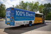The state's first electric school bus hit the road in late 2017. It still serves the Lakeville school district.