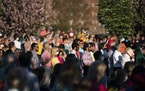 People participate in a memorial service and prayer vigil for the Lesslie family at Fountain Park, Sunday, April 11, 2021, in Rock Hill, S.C. Dr. Robe