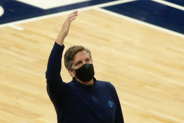 Wolves coach Chris Finch gestured during Sunday night's game against the Bulls at Target Center.