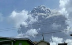 This April 9, 2021, image shows the eruption of La Soufriere Volcano from Rillan Hill in St. Vincent. La Soufriere erupted Friday for the first time i