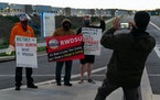 A supporter photographed a Retail, Wholesale and Department Store Union representative in late March outside the Amazon fulfillment warehouse at the c