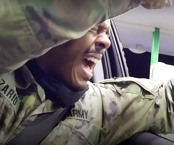 In a still image from footage taken by the body-worn camera of Windsor, Va., Police Officer Joe Gutierrez, U.S. Army Second Lt. Caron Nazario reacted