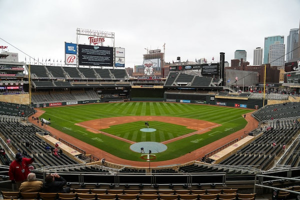 Target Field sat empty after the announcement that Monday's game between the Twins and Red Sox was postponed.